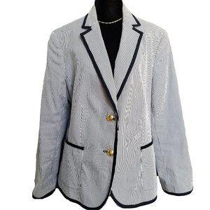 JONES NEW YORK Blue & White Pinstripe Piped Blazer